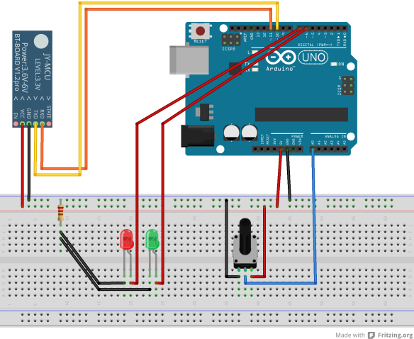 Arduino UNO R3 with 2 LEDs, a potentiometer and a Bluetooth module