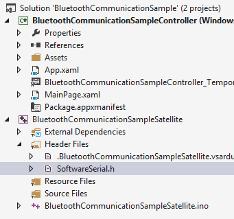 A blank VS 2013 solution was created to which a blank Windows Store 8.1 application and an Arduino sketch were added.